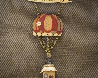 Fly High Necklace / Banner / Parachute with House / Polka Dot and Stripes
