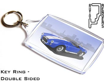 Shelby Cobra 427 Personalised 6x4cm Double Sided Key Ring. Choose Colour, Decals, Wheel Colours, Background. American Muscle V8 Big Block