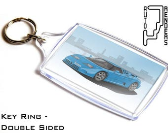 Bugatti EB110 GT Super Sport Personalised 6x4cm Double Sided Key Ring. Choose Colour, Decals, Wheel Colours, Background. Supercar Quad Turbo