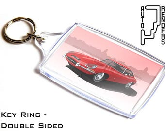 Jaguar E Type FHC Personalised 6x4cm Double Sided Key Ring. Choose Colour, Decals, Wheel Colours, Background. British Sports Car Coupe