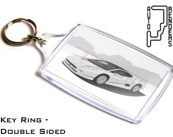 Jaguar XJ220 Personalised 6x4cm Double Sided Key Ring. Choose Colour, Decals, Wheel Colours, Background. Supercar Nineties 90's Retro TWR V6