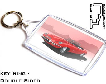 Jaguar E Type Roadster Personalised 6x4cm Double Sided Key Ring. Choose Colour, Decals, Wheel Colours, Background. Sports Car Convertible