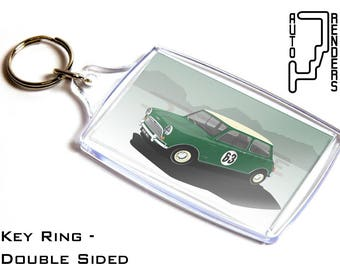 Mini Cooper Mk1 Personalised 6x4cm Double Sided Key Ring. Choose Colour, Decals, Wheel Colours, Background. British Classics Austin Morris S