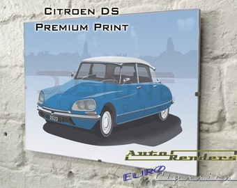 Citroen DS Series 3 Personalised Premium Signed Prints 12x8(A4) to 45x30(A0) Classic Cars Custom Illustration French Godess HydroPneumatic