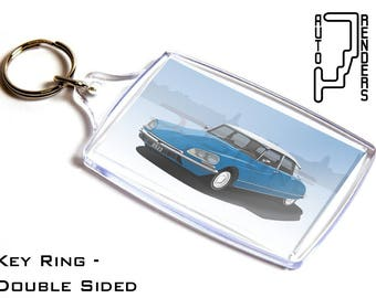 Citroen DS Pallas Personalised 6x4cm Double Sided Key Ring. Choose Colour, Decals, Wheel Colours, Background. DS21 23 French Classic Goddess