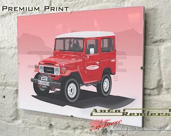 Toyota FJ40 Land Cruiser Personalised Premium Signed Prints 12x8(A4) to 45x30(A0) Classic Cars Custom Illustration Colour & Registration