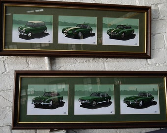 Matching Classic Cars - Aston Martin DB5 & DB4 GT, Jaguar E-Type and Lightweight, Jensen Interceptor + Mini Cooper Vintage Oak Wood Framed