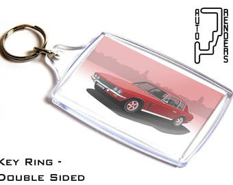 Jensen Interceptor/FF Mk2 Personalised 6x4cm Double Sided Key Ring. Choose Colour, Decals, Wheel Colours, Background. Fergerson 4WD Touring