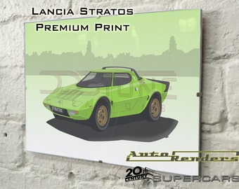 Lancia Stratos HF Stradale Personalised Premium Signed Prints 12x8(A4) to 45x30(A0) Classic Cars Custom Illustration 70s Supercar Rally