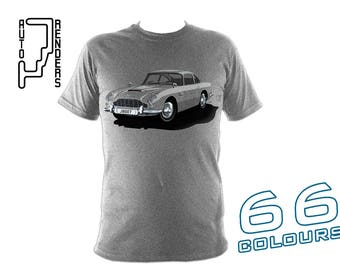 Aston Martin DB5 007 James Bond PERSONALISED T-Shirts by AutoRenders - 66 Colours - S/M/L/XL/2XL/3XL* - Unisex - Shirt & Car Colour Match!
