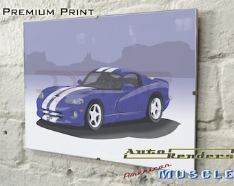 Dodge Viper GTS Personalised Premium Signed Prints 12x8(A4) to 45x30(A0) Classic Cars Custom Illustration Registration Mopar American Muscle