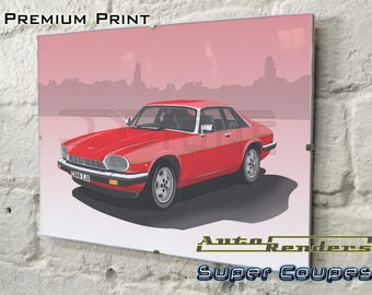 Jaguar XJ-S Coupe Personalised Premium Signed Prints 12x8(A4) to 45x30(A0) Classic Cars Custom Illustration Pre HE V12 Grand Tourer Coupe