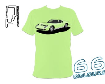 Lamborghini Miura P400 PERSONALISED T-Shirts by AutoRenders - 66 Colours - S/M/L/XL/2XL/3XL* - Unisex - Shirt & Car Colour Match!