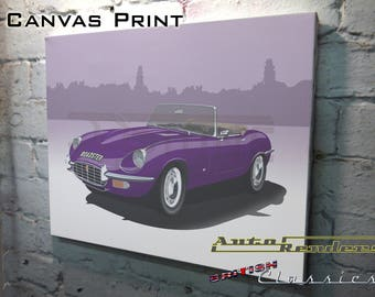 Jaguar Etype Roadster + Lightweight  CANVAS PRINT 12x8(A4) to 36x24(A1) Classic Cars Custom Personalised Premium Illustration Convertible