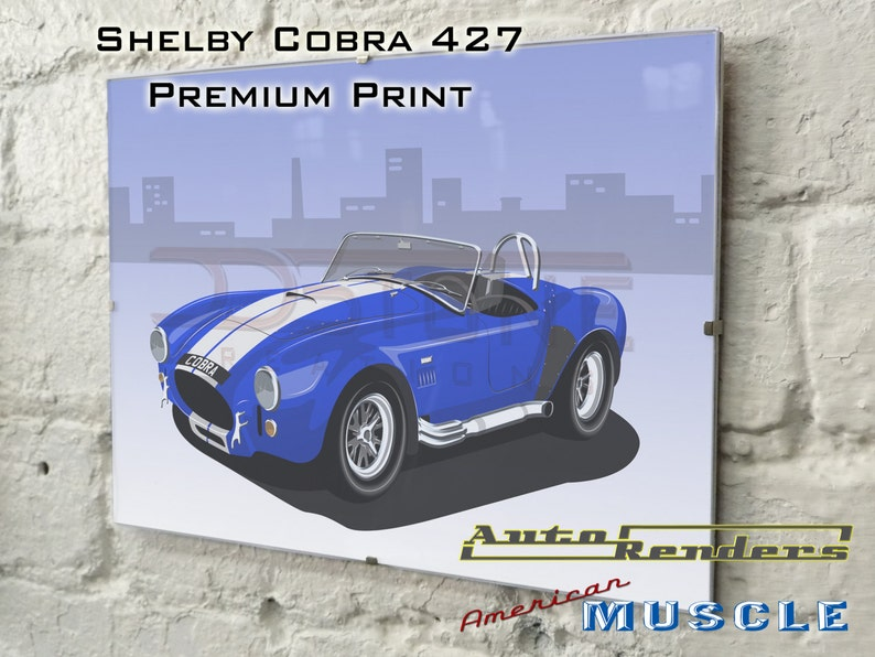 Shelby Cobra 427 V8 Personalised Premium Signed Prints 12x8(A4) to  45x30(A0) Classic Cars Custom Illustration Muscle Carrol Shelby Ford
