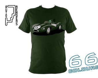 Jaguar D-Type Long Nose PERSONALISED T-Shirts by AutoRenders - 66 Colours - S/M/L/XL/2XL/3XL* - Unisex - Shirt & Car Colour Match!