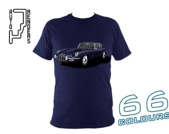 Jaguar E Type V12 Series 3 PERSONALISED T-Shirts by AutoRenders - 66 Colours - S/M/L/XL/2XL/3XL* - Unisex - Shirt & Car Colour Match!