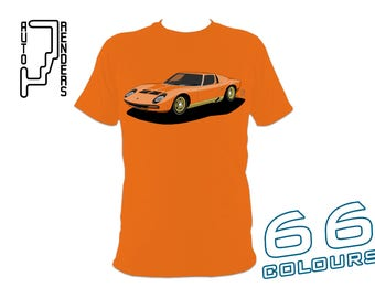 Lamborghini Miura SV PERSONALISED T-Shirts by AutoRenders - 66 Colours - S/M/L/XL/2XL/3XL* - Unisex - Shirt & Car Colour Match!