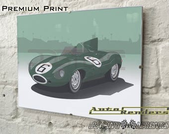 Jaguar D-type Long Nose LeMans Personalised Premium Signed Prints 12x8(A4) to 45x30(A0) Classic Cars Custom Illustration Winner 1955