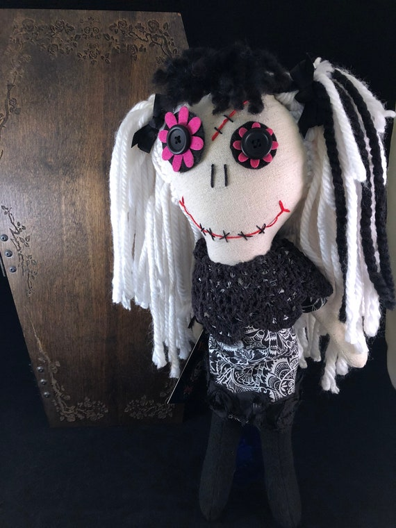 OOAK Hand Stitched Zombie Rag Doll With a Real Wood Coffin  754bd4dec560