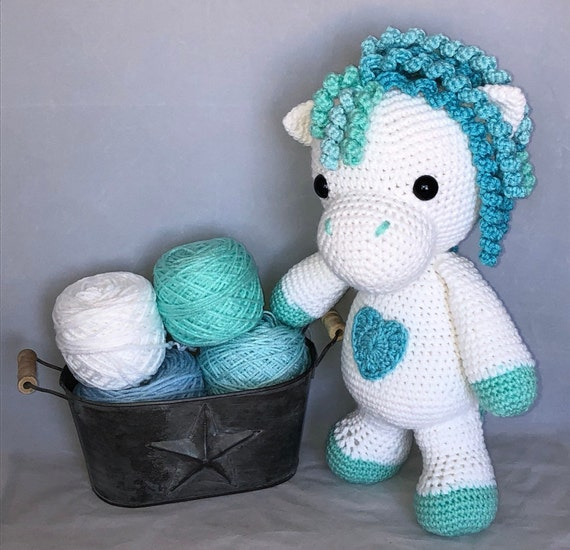 Hand Crochet Blue Huggable Pony Plush Blue Horse Boy Doll Etsy