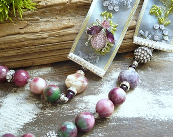 tourmaline necklace, agate necklace, bee necklace, organza ribbon necklace, vintage inspired necklace, wedding necklace, one of a kind,