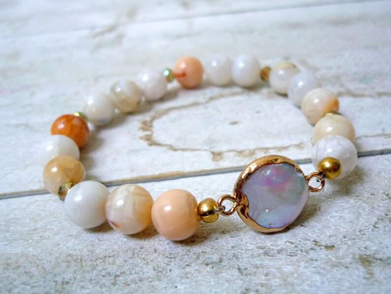 Freshwater pearl and agates bracelet violet agates bracelet image 0