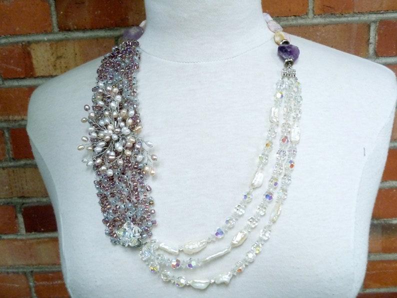 wedding pearl necklace  violet agate necklace wedding image 0