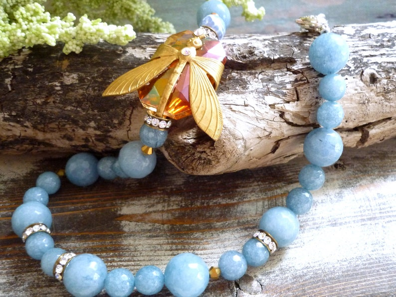 blue agate necklace repurposed necklace dragonfly necklace image 0