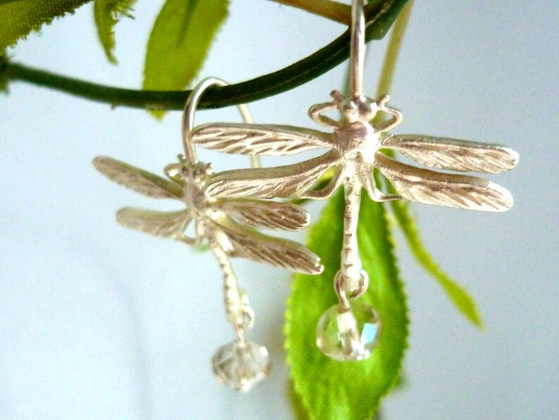 earring  dragonfly earring  crystal earring pendant image 0