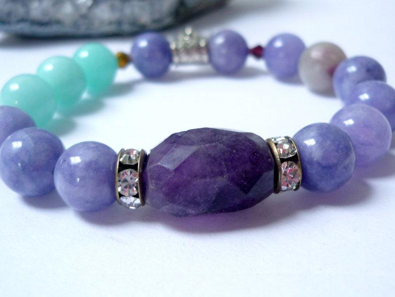 Amethyst braclet amazonite bracelet stretch bracelet gtone image 0