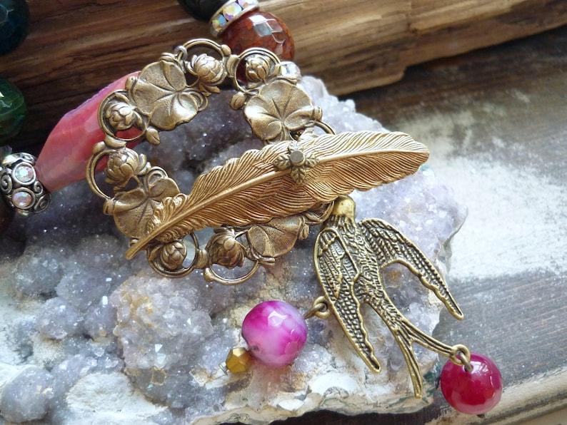blue agates necklace pink agates necklace bird necklace image 0