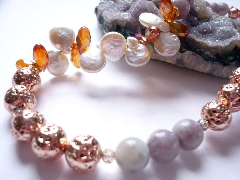 Rose gold necklave with freshwater pearl/ lava bead gold rose image 0