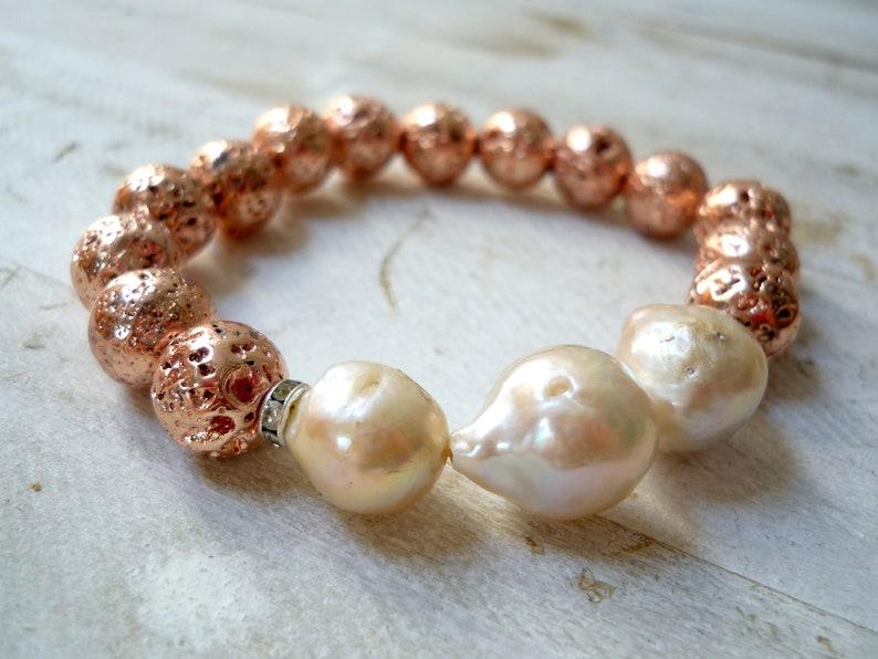 Freshwater pearl and lava beads  bracelet wedding bracelet image 0