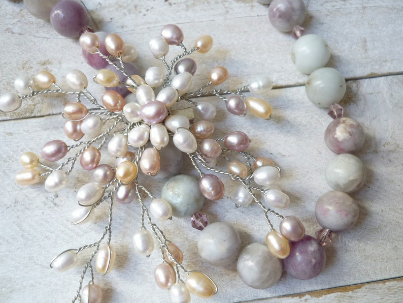 freshwater pearl necklace  violet agate necklace wedding image 0