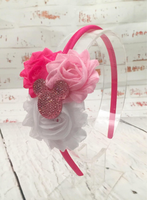 Minnie Mouse Headband Hot Pink White Flower Headband Etsy