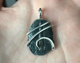Trilobite fossil in forged sterling silver pendant