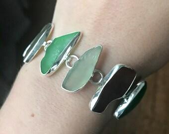 Beautiful sterling silver beach glass bracelet