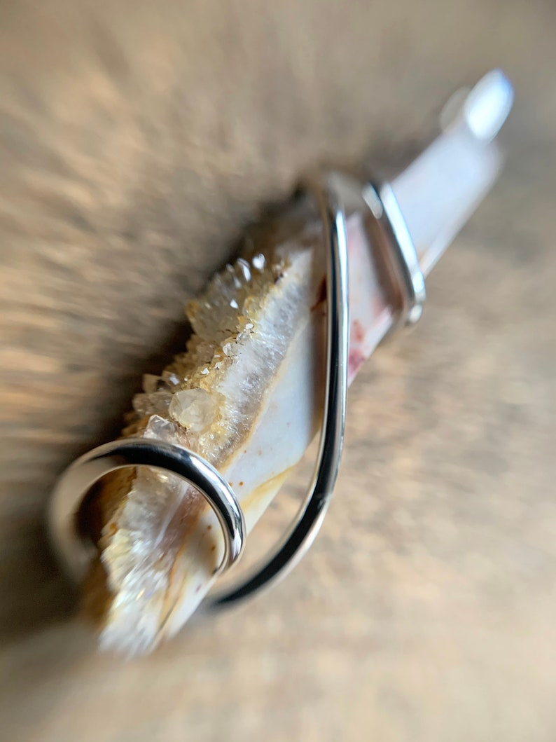 Ohio flint set in forged sterling silver pendant