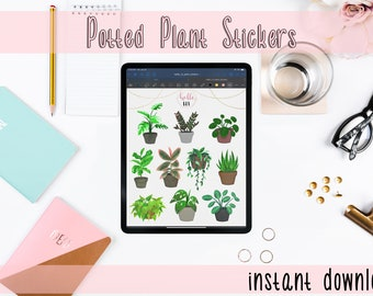 Potted Plant Digital GoodNote Stickers
