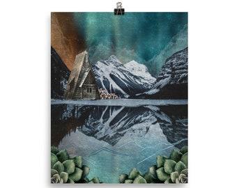 Lake Cabin - PRINT / Wall Art / Mixed Media / Boho / Mountain Lake Cabin / Succulents