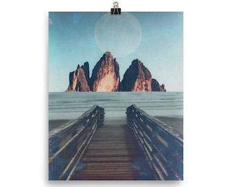 Arid Lake - PRINT / Wall Art / Mixed Media / Boho / Mountain Lake Landscape / Composite