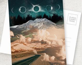 Passage - 5x7 POSTCARD / Framable / Mixed Media / Boho / Mountain Road Landscape / Eclipse