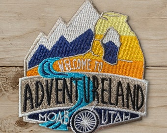 Welcome to Adventureland Embroidered - Iron on Patch, Canvas, Utah, Moab