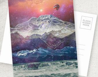 Escape - 5x7 POSTCARD / Framable / Mixed Media / Boho / Mountain Ocean Landscape / Composite