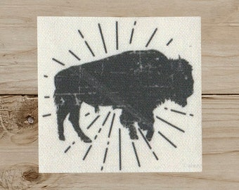 Bison - Iron on Patch, Canvas, Americana, West