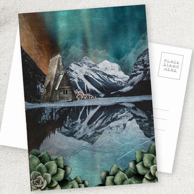 Lake Cabin  5x7 POSTCARD / Framable / Mixed Media / Boho / image 0