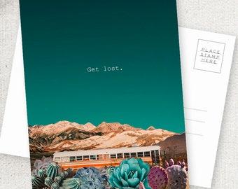Get Lost Bus - 5x7 POSTCARD / Framable / Mixed Media / Boho / Skoolie Art / Succulents