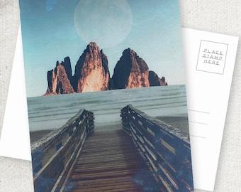 Arid Lake - 5x7 POSTCARD / Framable / Mixed Media / Boho / Mountain Lake Landscape / Composite