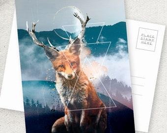 Foxelope - 5x7 POSTCARD / Framable / Mixed Media / Boho / Woodland Creature / Fantasy